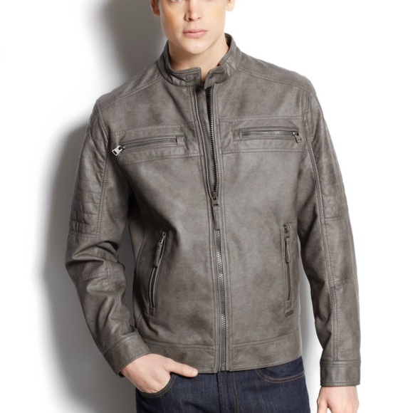 1c0911738b09 Calvin Klein Other - CALVIN KLEIN MENS SMALL GREY MOTO LEATHER JACKET
